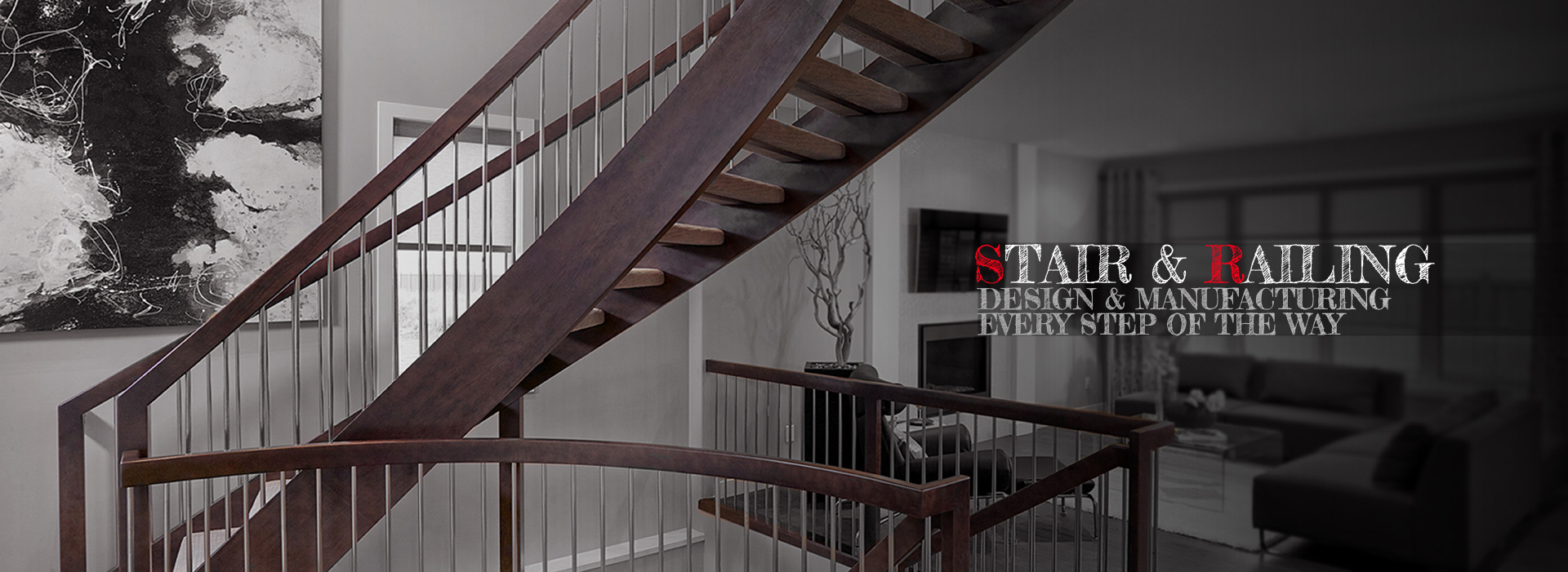stair railing curved custom spindle newel post